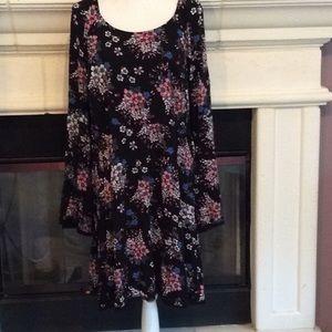 Torrid bell sleeved bright floral on black dress